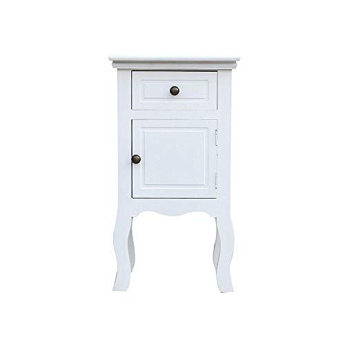 Rebecca Mobili Comodino classico, con 1 cassetto 1 anta, legno paulownia mdf, bianco, arredo camera bagno - Misure: 62 x 33 x 30 cm (HxLxP) - Art. RE4211