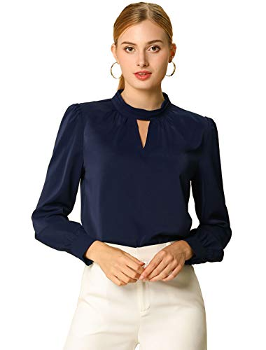 Allegra K Women's Work Office Shirt Keyhole Elegant Stand Collar Long Sleeve Chiffon Blouses Small Navy Blue