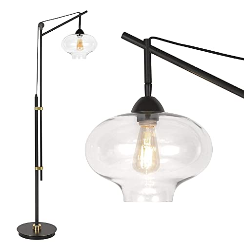 Hykolity Industrial Vintage Floor Lamp, Clear Glass Antique Lighting for Living Room Reading House Bedroom Home Office Decor, Bulb Sold Separately