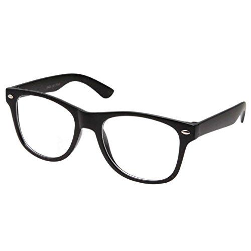 Retro NERD Geek - Gafas de ojos para hombre y mujer, color negro