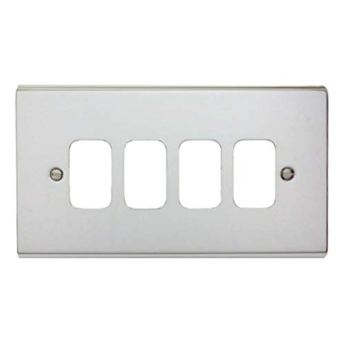 Deta G3424CH 'Slimline Decor' Grid Switch Cover Plate - Polished Chrome 4 Gang