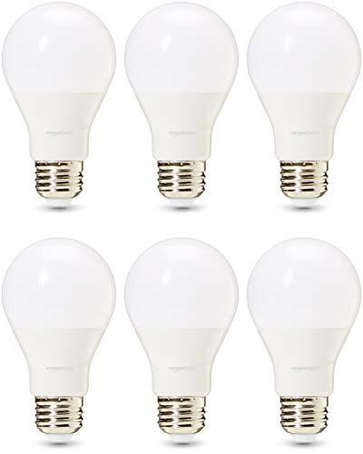 Amazon Basics Commercial Grade 25,000 Hour LED Light Bulb | 40-Watt Equivalent, A19, Soft White, Dimmable, 6-Pack