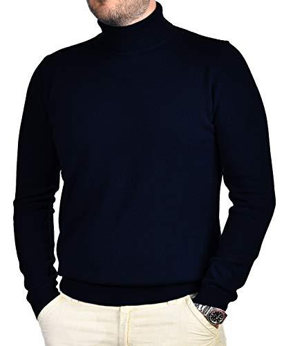 Dolcevita Maglione Uomo 100% Puro Cashmere Pull Manica Lunga Morbido Soffice e Caldo (Blu, XL)