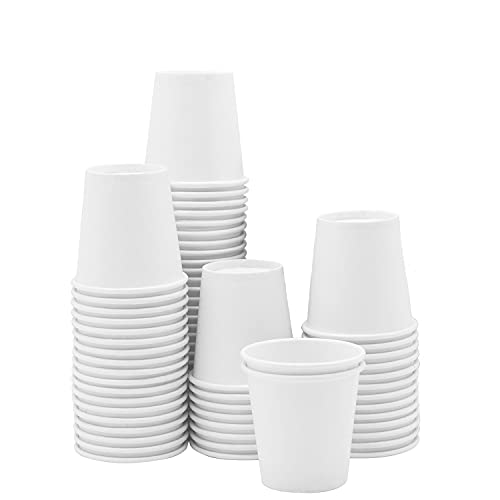 [100 Pack] 3 oz. White Paper Cups, Small Disposable Bathroom, Espresso, Mouthwash Cups
