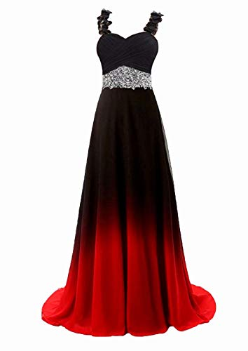 Beaded Top Gradient Color Evening Prom Dresses Long A Line Chiffon Bridesmaid Dress Black&Red E 14