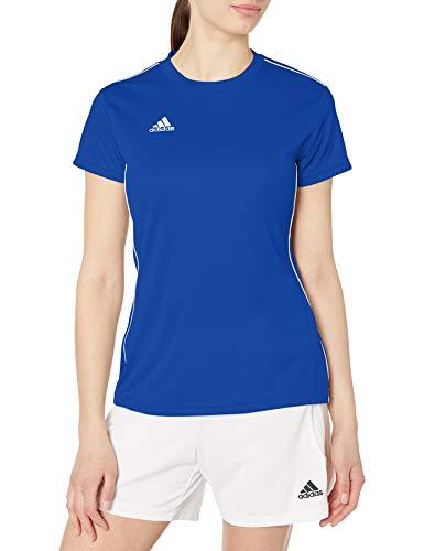 adidas Women's Core 18 AEROREADY Primegreen Regular Fit Soccer Short Sleeve Jersey, Bold Blue/White, Medium