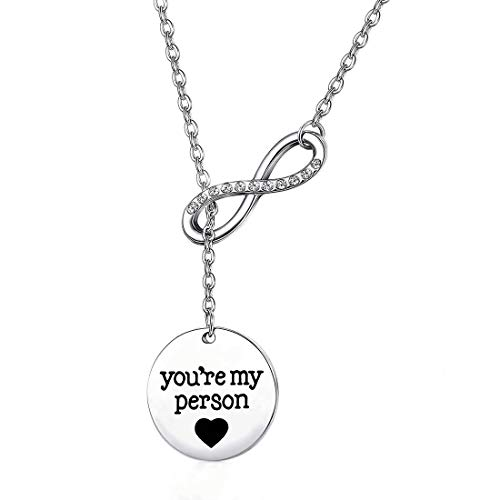 BEKECH Infinity and You are My Person Infinity Lariat Y Necklace Grey's Anatomy Best Friend Necklace Friendship Jewelry BFF Gift Sister Gift (silver)