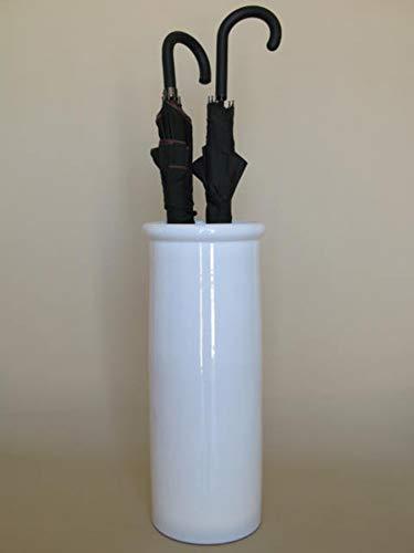 POLONIO - Paraguero de Cerámica - 50 cm - Paraguero o Bastonero Filo Recto para Entrada y Pasillo - Color Blanco Brillo