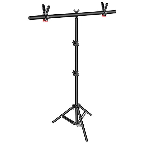 Neewer T-Shape Background Backdrop Support Stand Kit: 32-80 inches 81-203 Centimeters Adjustable Tripod Stand and 35.4 inches 90 Centimeters Crossbar with 2 Tight Clamps for Video Studio Photography