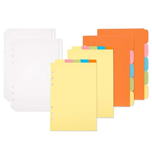 SOSPIRO 20 Stück A5 Register Trennblätter mit 2 Stück 6 Löcher Binder Reißverschluss Taschen für Ringbuch Planer Notizbuch