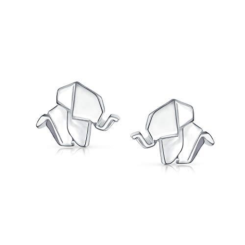 Origami 3D Geométricas Diminutas Buena Suerte Pendiente Boton Elefante Sabio Mujer Adolescente Plata Esterlina 925