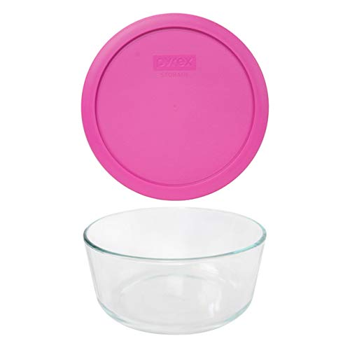 Pyrex (1) 7203 7 Cup Glass Dish & (1) 7402-PC 6/7 Cup Pink Lid