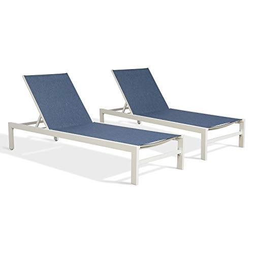 Ulax Furniture Patio Outdoor Aluminum Chaise Lounge Chair Adjustable Recliner Lounger with Wheels (2 x Chairs, Navy)
