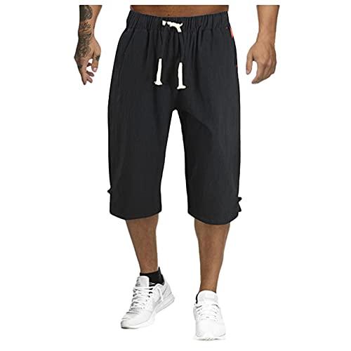 BIBOKAOKE Heren shorts 3/4 korte broek linnenlook vrijetijdsbroek effen zomershorts regular fit mode sport shorts loose casual fitness trainingsshorts werkbroek herenshorts