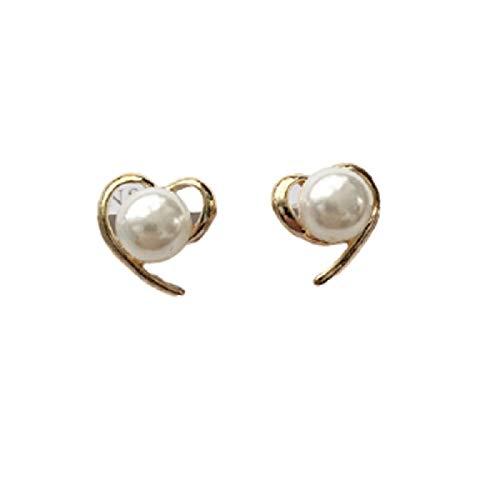 wangk Marca de joyería diseño Oro Color corazón Perla Pendientes para Las Mujeres nuevos Accesorios