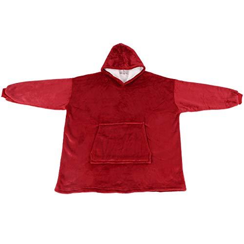 Uxsiya Manta con capucha de franela polar Ropa caliente Sleepwr Franela para sala de estar Mantener caliente (rojo)