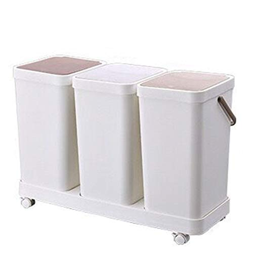 HXSKI Papelera Casera,Compartimento Doble Reciclaje Clasificado Traje De Cubo De Basura,para La Cocina Restaurante Baño Papelera-Blanco 64x26x45cm(25x10x18inch)