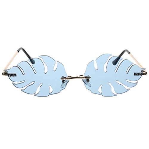 VALICLUD Gafas en Forma de Hoja Gafas de Sol de Fiesta sin Montura Gafas sin Marco de Moda Gafas Novedosas Gafas de Playa Fiesta de Apoyo Fotográfico (Azul)
