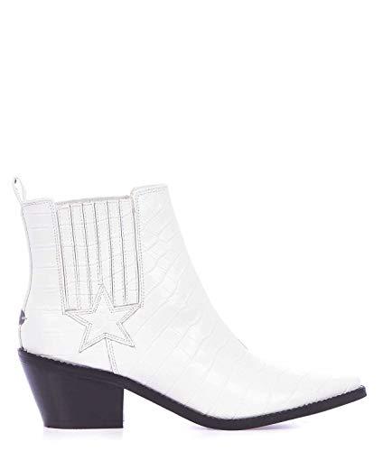 Luxury Fashion | Guess Dames FL5NEALEP10WHITE Wit Leer Enkellaarzen | Lente-zomer 20