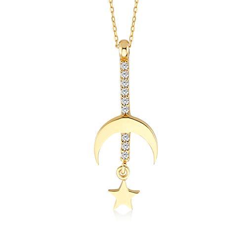 Damesketting van 14 karaat – 585 echt geelgoud, ketting met omgekeerde halve maan ster hanger – cadeau voor verjaardag Kerstmis – ketting 45 cm