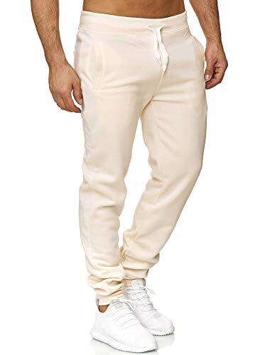 EGOMAXX Herren Jogging Hose Fit & Home Sweat Pants leichte Sporthose Vers.1, Farben:Creme, Größe Hosen:M