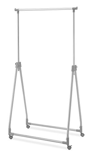 Whitmor Foldable Garment Rack - Rolling Clothes Hanger - Adjustable Height