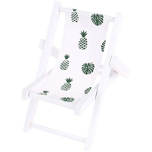PRETYZOOM Mini poltrona da spiaggia in legno, supporto per cellulare Longue sedia a sdraio Mini accessorio per casa delle bambole (foglia)