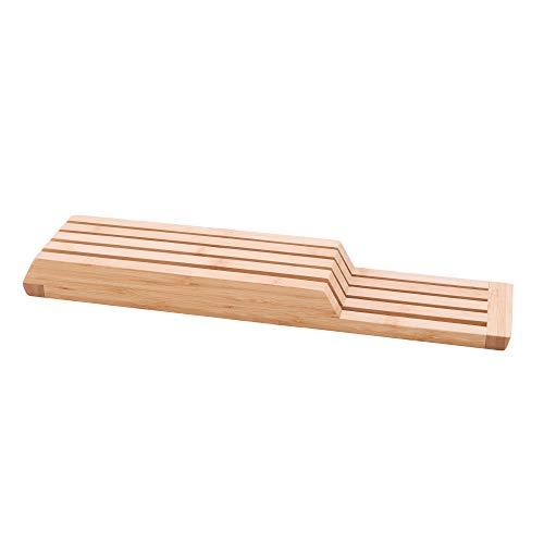 Point-Virgule Schublade Messerblock ohne Messer aus Bambus Holz, Ausziehbar, für Koch, Steak, Brot oder Japanisches Messer und Besteck, Küchen Zubehör, ø 12cm H 22cm