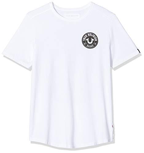 True Religion Herren Crew MULTILOGO T-Shirt, Weiß (White 1700), Large (Herstellergröße: L)