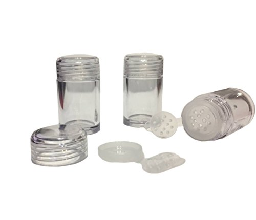 6 Packs Clear Plastic Loose Powder Jar 10 ml Empty Face Powder Case Eyeshow Powder Box Makeup Concealer Powder Sifter Container Cosmetic Powder Sample Pots Bottles