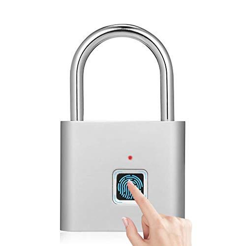 Y-only Candado de Huella Dactilar, IP65 Impermeable Inteligente Electrónica Candado de Seguridad, Antirrobo Sin Llave con Reconocimiento de Huellas Dactilares, Carga USB,4 Pack
