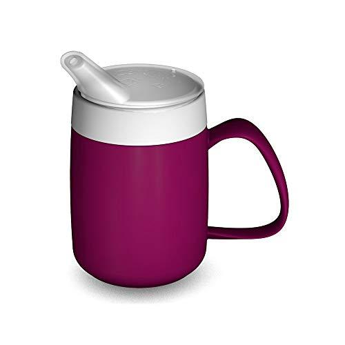 Ornamin Becher mit Trink-Trick, Thermofunktion und Schnabelaufsatz 140 ml brombeer (Modell 207 + 806) / Thermobecher, Spezial-Trinkhilfe, Schnabelbecher