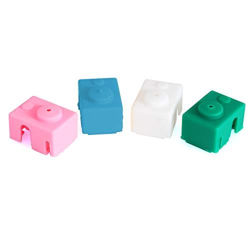 E3D V6 Silikon Block Cover Schutzh¨¹lle Befestigungen Silikon Isolierung Socke 3D Drucker Teil Hot End Schutzh¨¹lle Wei?, Gr¨¹n, Rosa, Gelb -4Pcs