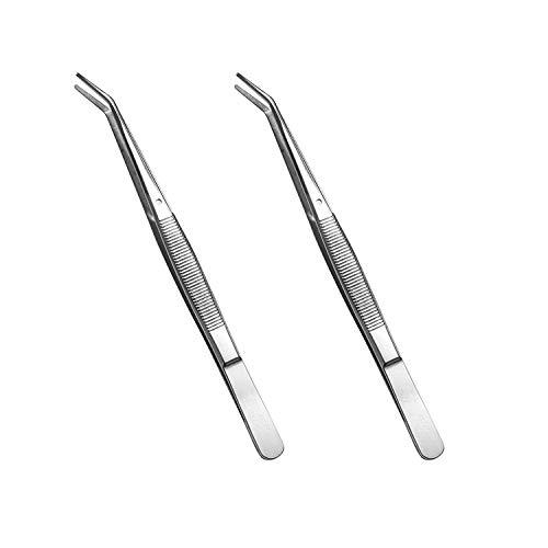 Stainless Steel Tweezers, with Curved Serrated Tip Multipurpose Tweezers Sewing Machine Tweezers Forceps for Craft Repairing (2PCS)