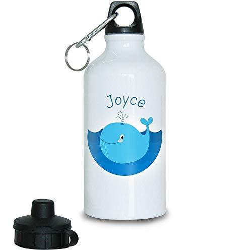 Eurofoto Trinkflasche mit Namen Joyce und Motiv mit Blau-Wal für Mädchen | Motiv-Trinkflasche | Kinder-Aluflasche