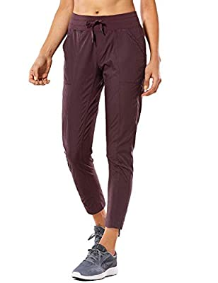 CRZ YOGA Women's Studio Joggers Striped Travel Lounge Pants Drawstring Leg 7/8 Workout Casual Track Pants with Pockets Darkadobe Medium