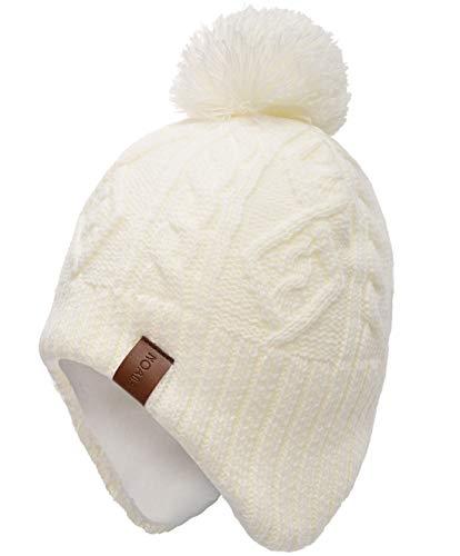 Foruhoo Mädchen Mütze Beanie Hut, Wintermütze für Baby Jungen mit Fleecefutter(Weiß,53cm