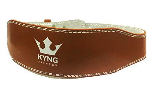 Kyng Fitness Professional Olympic Weight Lifting Belt for Men & Women, 4 Inch, Adjustable Belt with Buckle, Stabilizing Back Support for Weightlifting, BROWN/MEDIUM