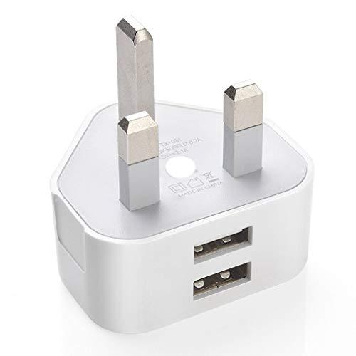 Adaptador y Cargador de Enchufe de Pared de 3 Clavijas del Reino Unido con Puertos USB para teléfonos con Doble USB PlugWhiteUK