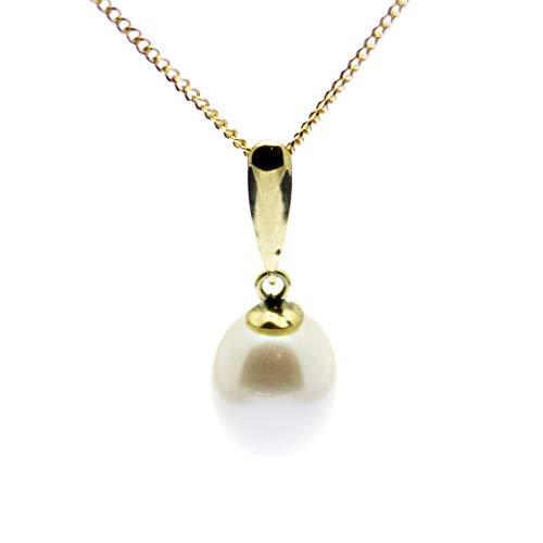 Collar con colgante de perlas de oro de 9 quilates de 6 mm en caja de regalo