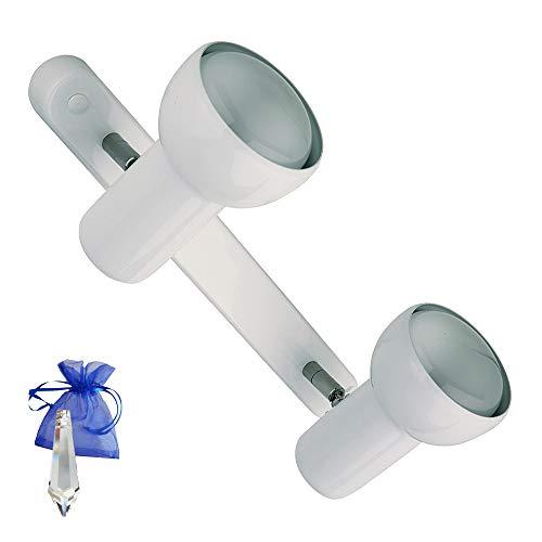 Deckenleuchte Weiss Wandspot Deckenspot Metall EIFEL Leiste R80 E27 308-02-040 + Kristall Pendel Give Away