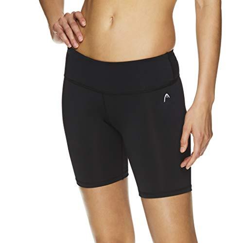Head - Pantalones Cortos de compresión para Mujer (Cintura Alta, para Gimnasio y Correr, Entrepierna de 7 Pulgadas) - Negro - XL