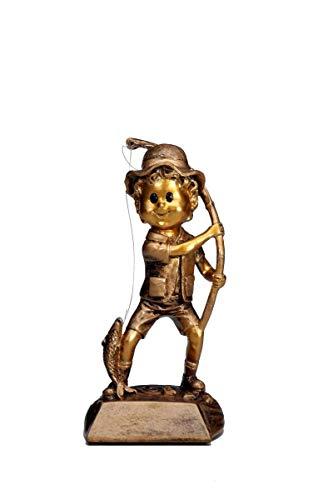 Henecka Angeln-Pokal, Angeln-Resinfigur Angler Junior, altgold, mit Wunschgravur, Größe 16 cm