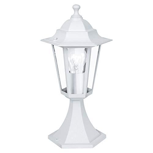 EGLO Außen-Sockellampe Laterna 5, 1 flammige Außenleuchte, Sockelleuchte aus Aluguss und Glas, Farbe: Weiß, Fassung: E27, IP44