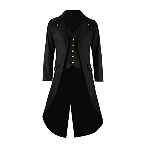 SOLOTIMES Mens Black Tailcoat Jacket Gothic Steampunk Victorian VTG Halloween Costume Long Coat (Large)