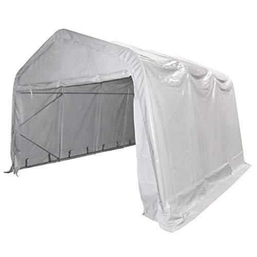 vidaXL Lagerzelt Zelthalle Weidezelt Industriezelt Zelt Lagerhalle Garagenzelt Pavillon Lagerhütte Unterstand PVC 550g/m² 4x6m Weiß