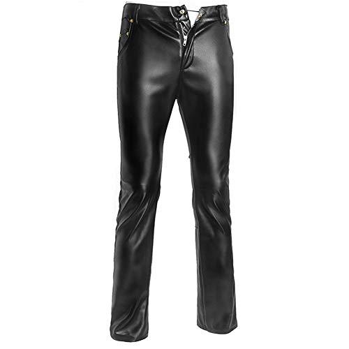 Fxwj Herren Leder Latex Lange Hosen Boxershorts Wetlook Pants Catsuit Unterwäsche S-XXL,Black,M