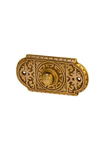 Antik Türklingel, P9151, aus Messing, patiniert, mit Klingelplatte und Klingeltaster - handgefertigt nach antiken Vorlagen