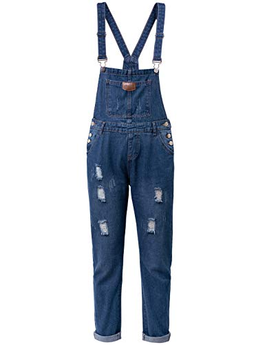 Yeokou Womens Distressed Autumn Loose Baggy Long Denim Jean Trucker Shirt Jacket