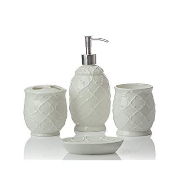 Designer 4-Piece Ceramic Bath Accessory Set   Includes Liquid Soap or Lotion Dispenser w/Toothbrush Holder, Tumbler, Soap Dish   Moroccan Trellis   Contour White